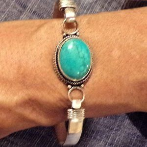 925 Sterling Silver Turquoise Bead Bracelet
